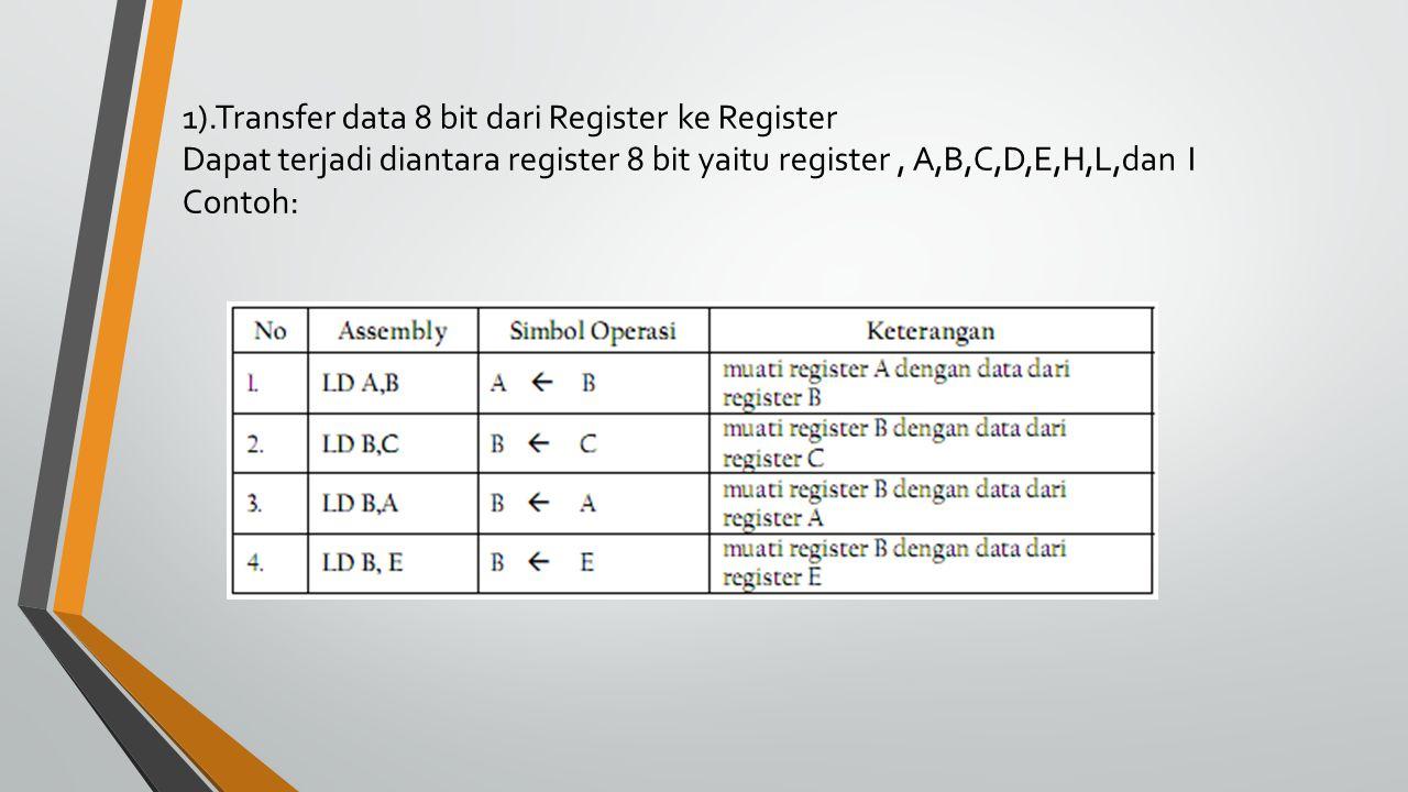 1).Transfer data 8 bit dari Register ke Register Dapat terjadi diantara register 8 bit yaitu register , A,B,C,D,E,H,L,dan I Contoh:
