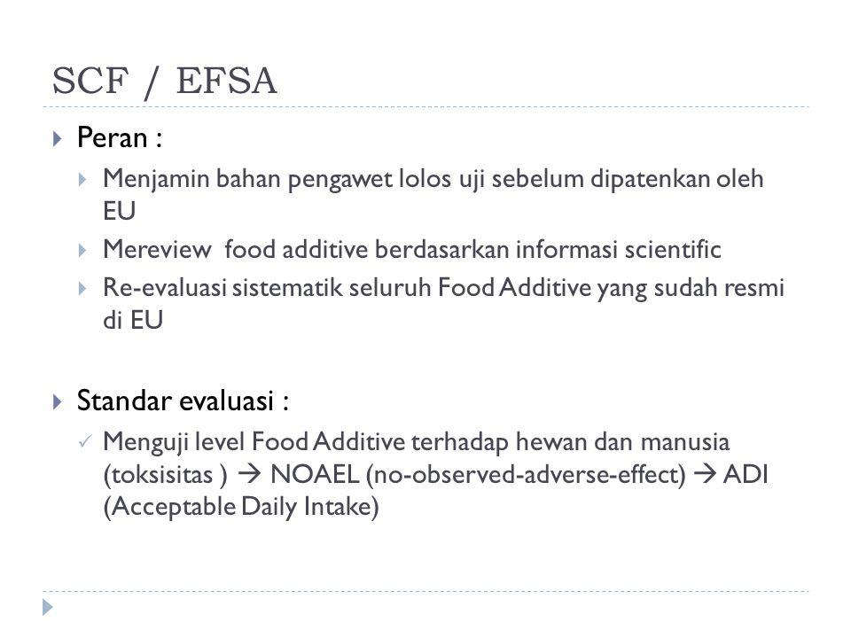 SCF / EFSA Peran : Standar evaluasi :