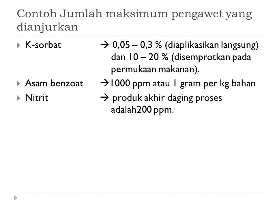 Contoh Jumlah maksimum pengawet yang dianjurkan