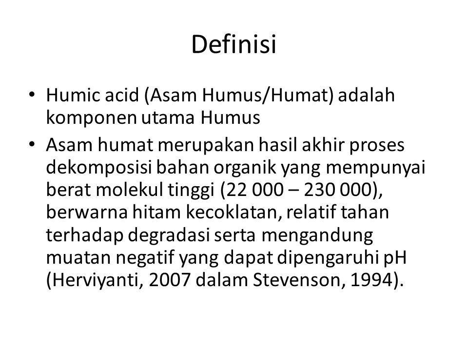 Definisi Humic acid (Asam Humus/Humat) adalah komponen utama Humus