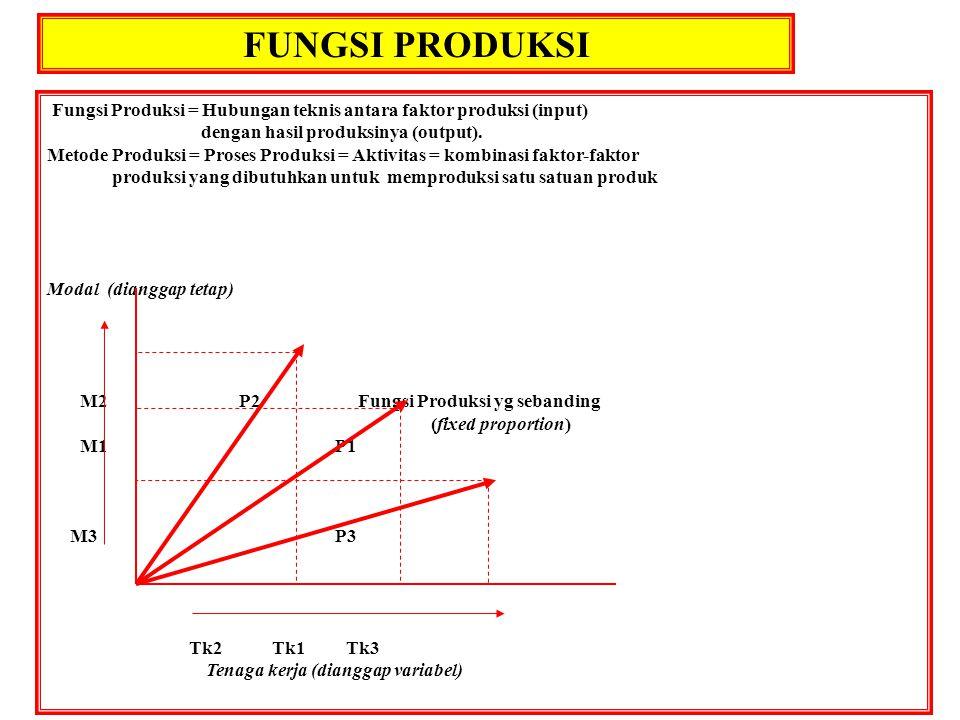 FUNGSI PRODUKSI Fungsi Produksi = Hubungan teknis antara faktor produksi (input) dengan hasil produksinya (output).