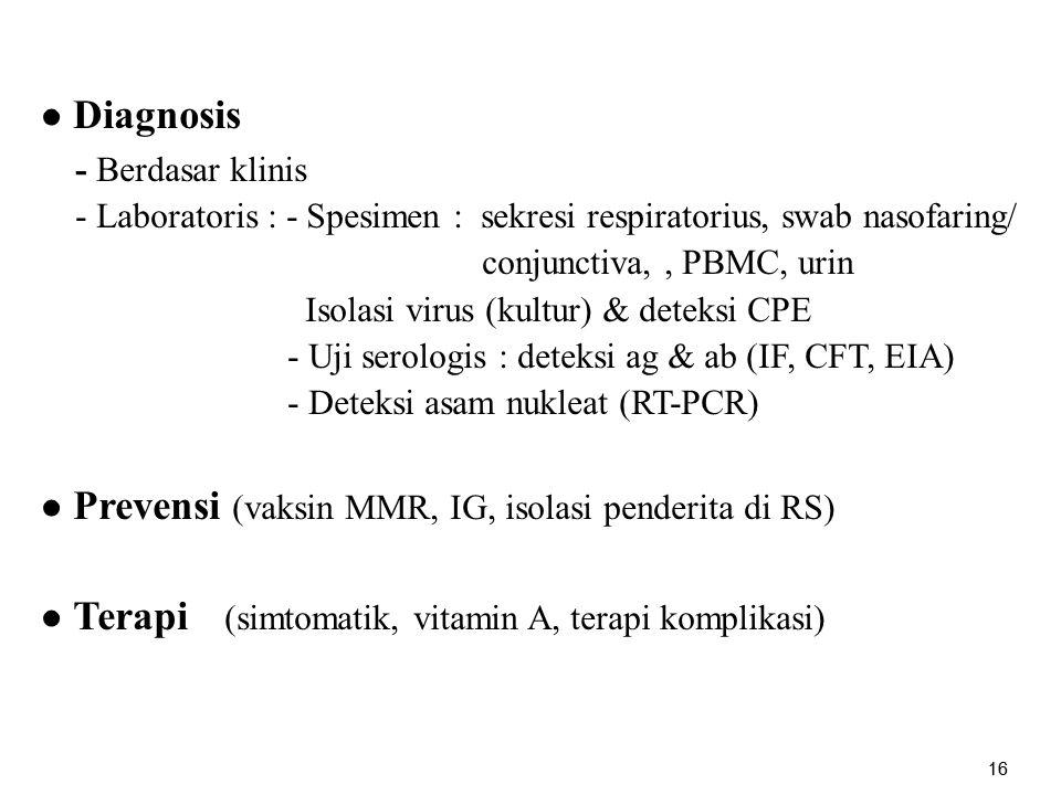 ● Prevensi (vaksin MMR, IG, isolasi penderita di RS)