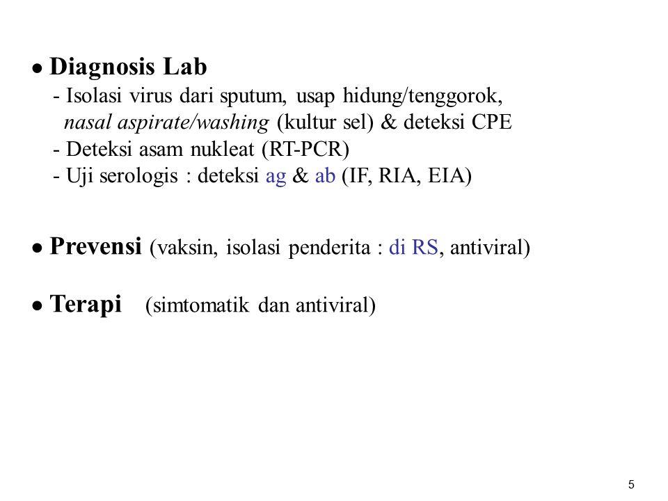 - Isolasi virus dari sputum, usap hidung/tenggorok,