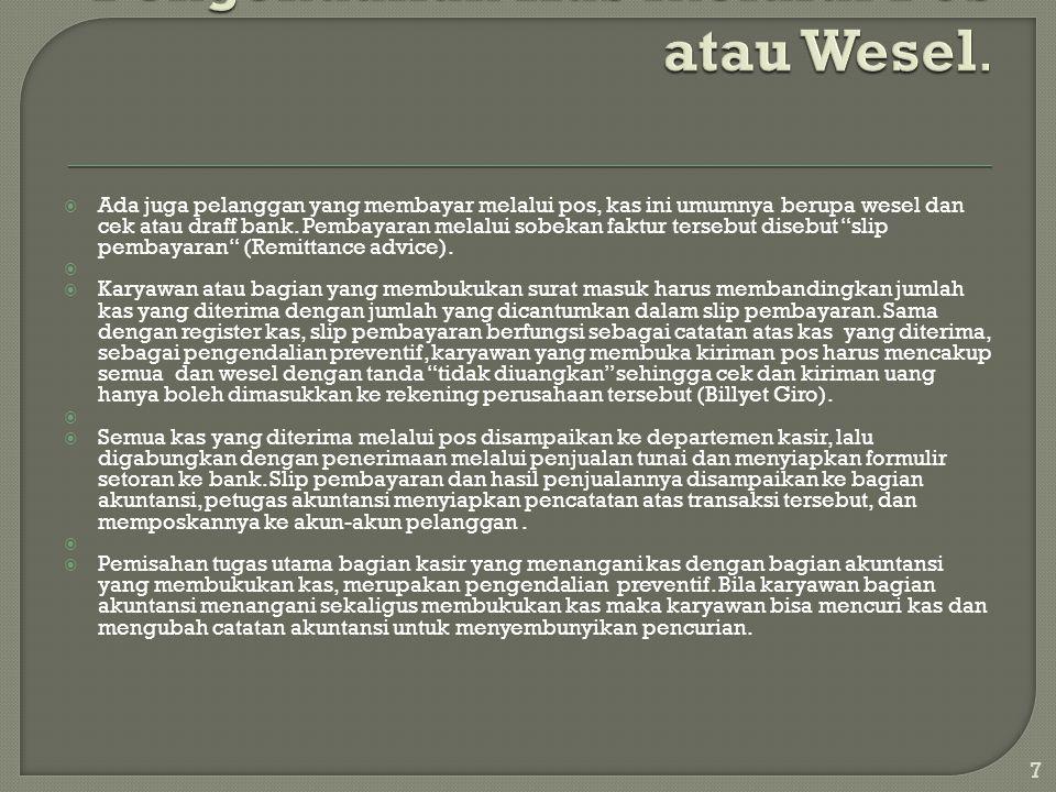 Pengendalian Kas melalui Pos atau Wesel.