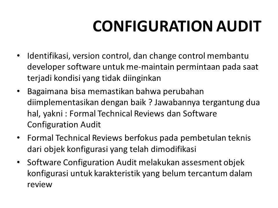 CONFIGURATION AUDIT