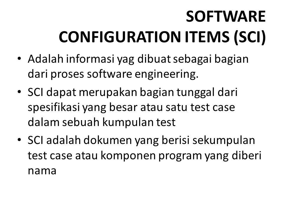 SOFTWARE CONFIGURATION ITEMS (SCI)