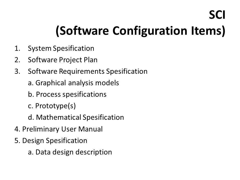 SCI (Software Configuration Items)