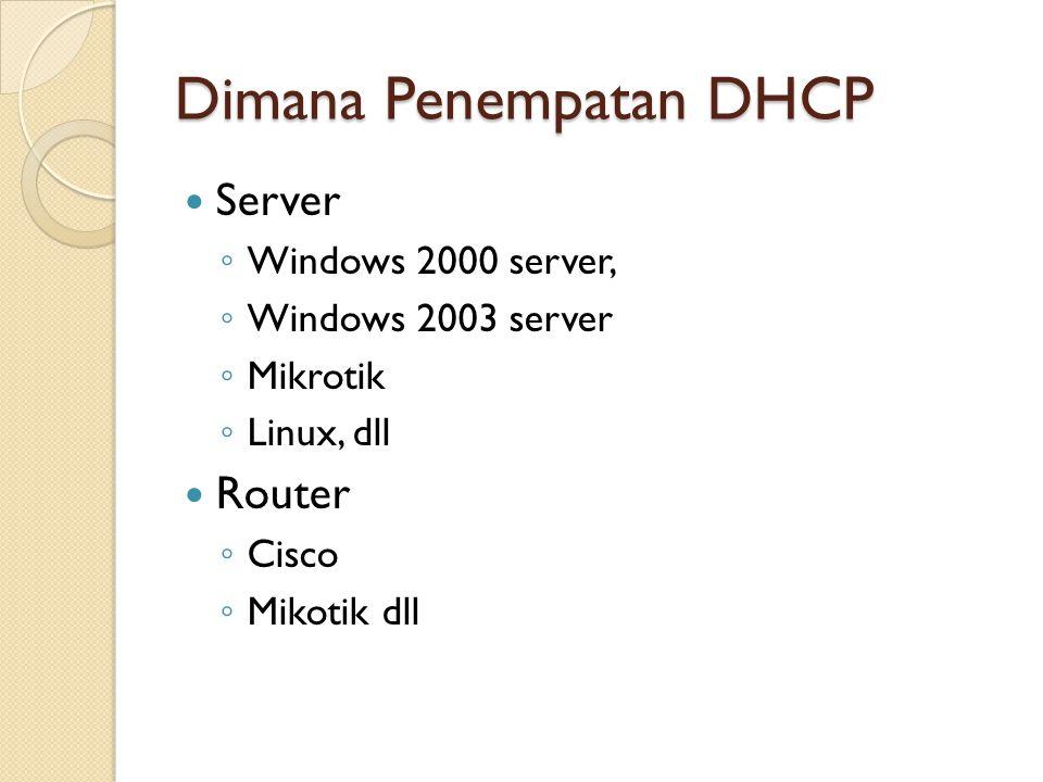 Dimana Penempatan DHCP