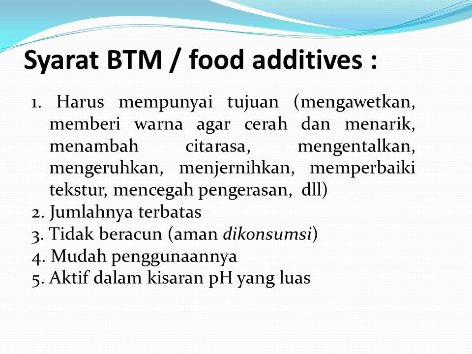 Syarat BTM / food additives :