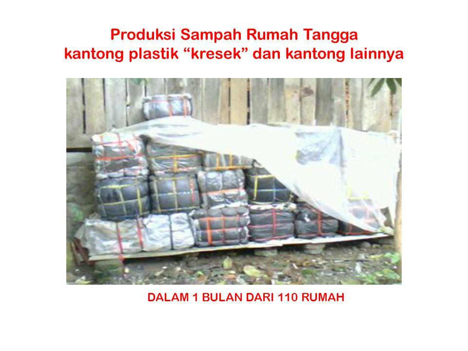 Produksi Sampah Rumah Tangga kantong plastik kresek dan kantong lainnya