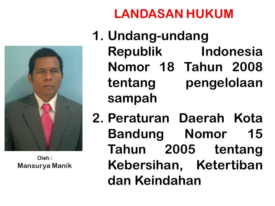 LANDASAN HUKUM Undang-undang Republik Indonesia Nomor 18 Tahun 2008 tentang pengelolaan sampah.