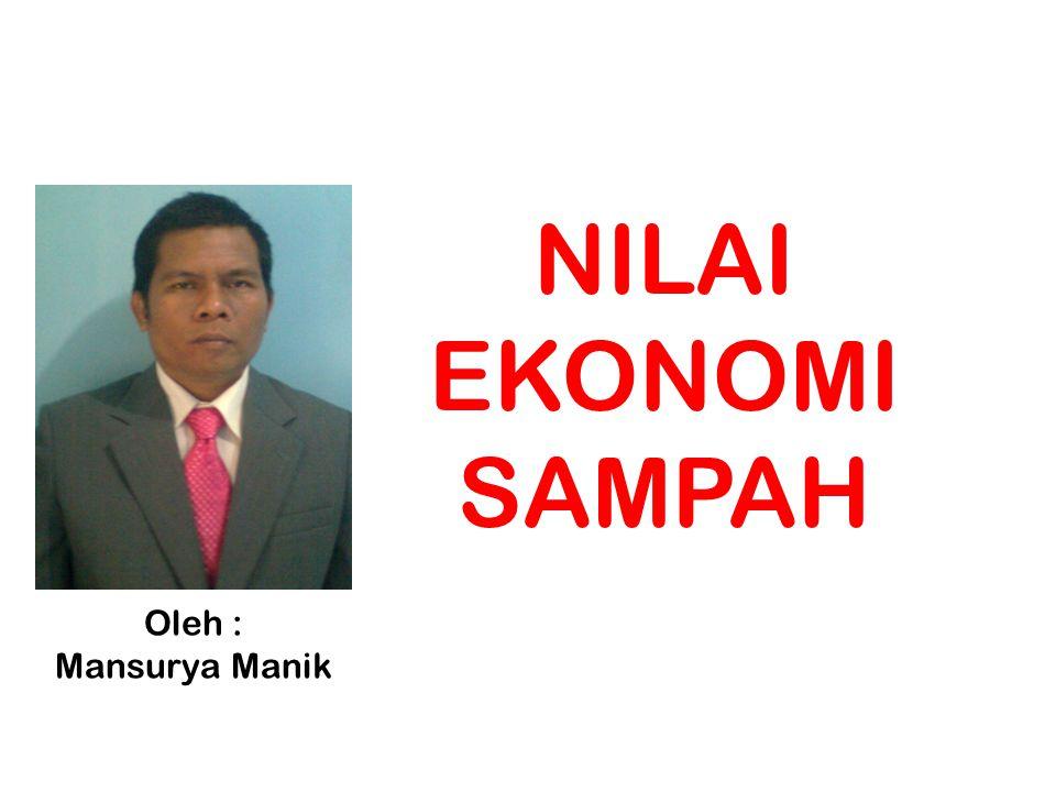 NILAI EKONOMI SAMPAH Oleh : Mansurya Manik