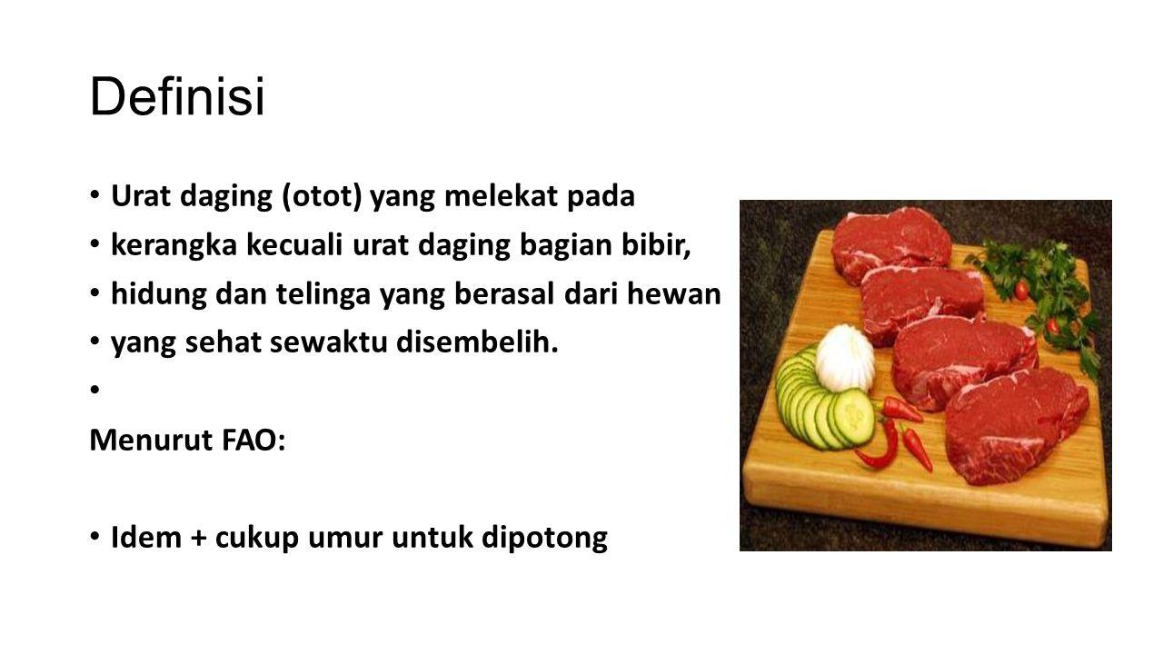 Definisi Urat daging (otot) yang melekat pada