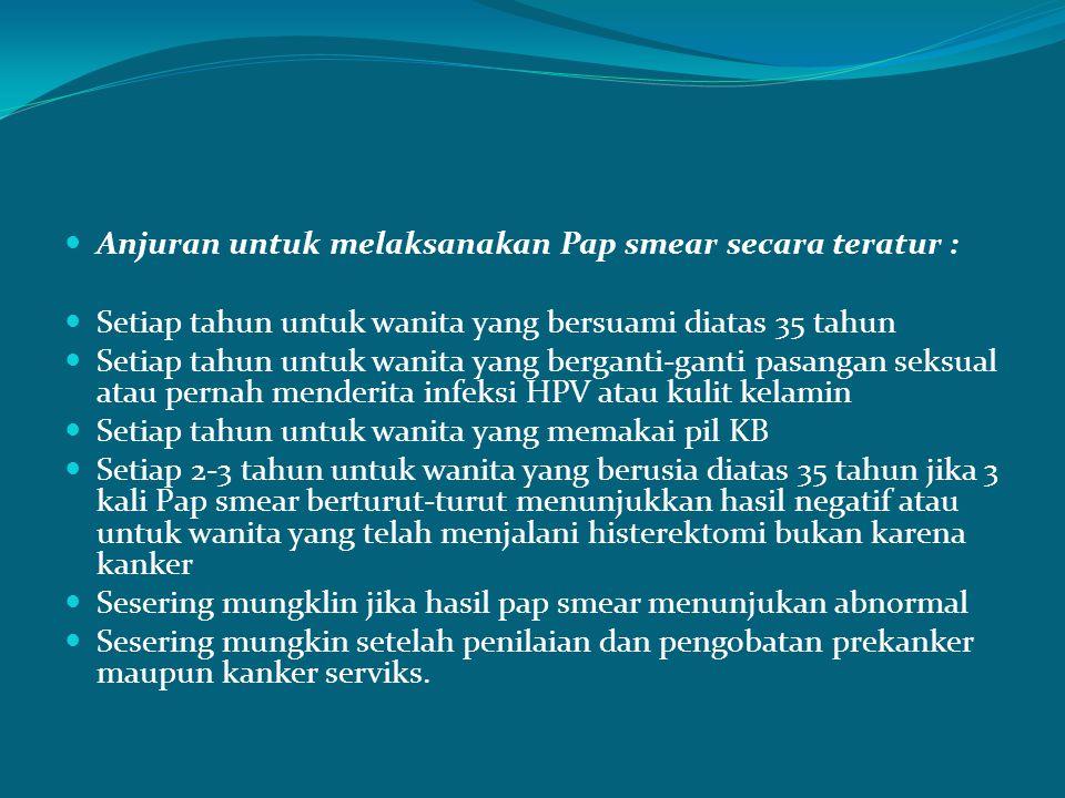 Anjuran untuk melaksanakan Pap smear secara teratur :