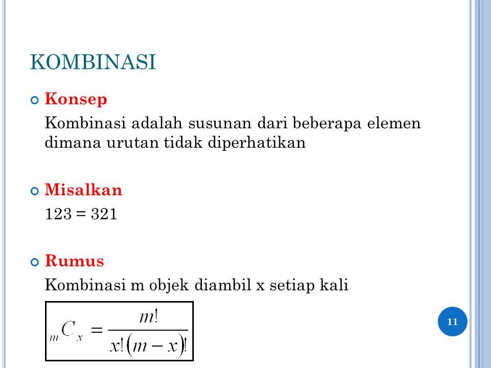 KOMBINASI Konsep. Kombinasi adalah susunan dari beberapa elemen dimana urutan tidak diperhatikan.