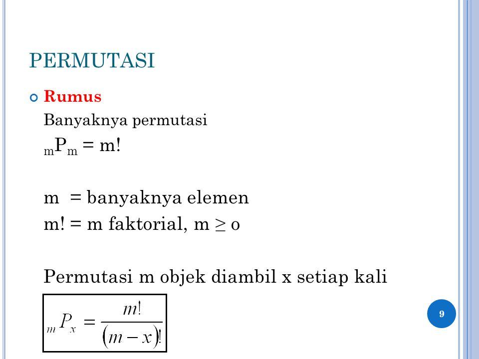 PERMUTASI m = banyaknya elemen m! = m faktorial, m ≥ o