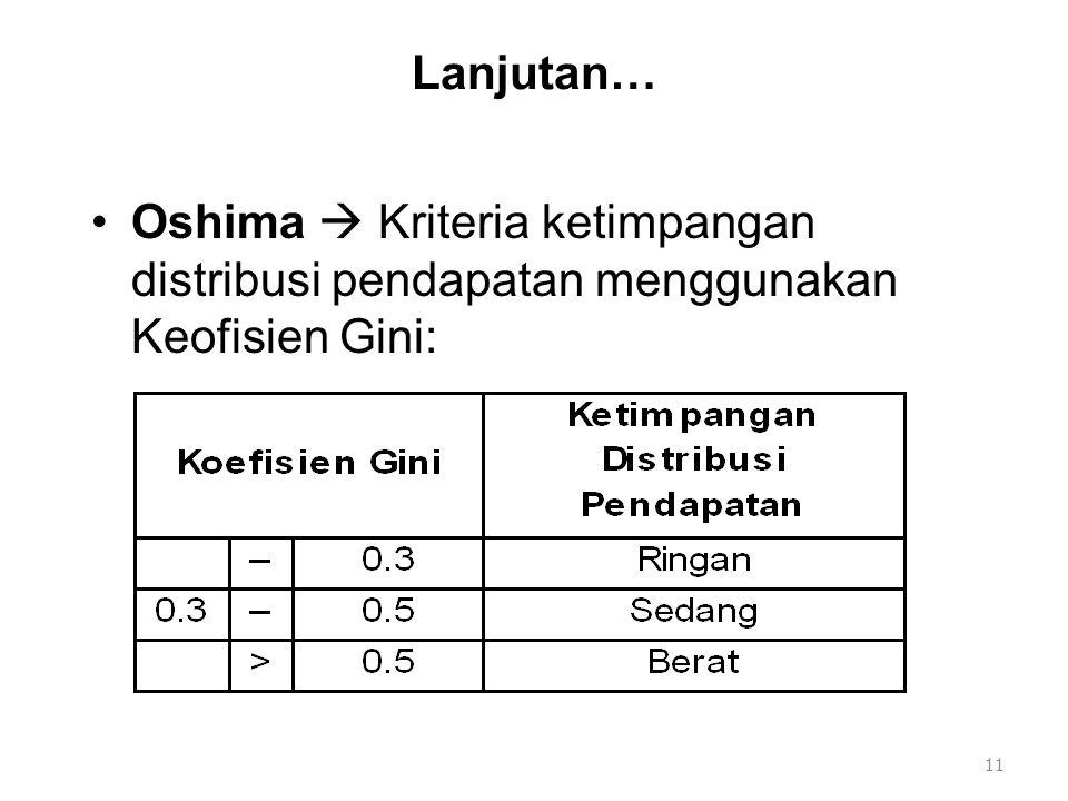 Lanjutan… Oshima  Kriteria ketimpangan distribusi pendapatan menggunakan Keofisien Gini:
