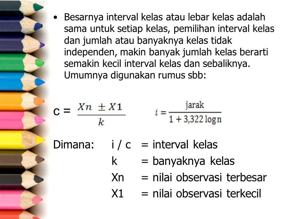 c = Dimana: i / c = interval kelas k = banyaknya kelas