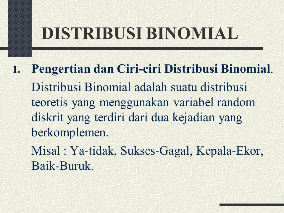 DISTRIBUSI BINOMIAL Pengertian dan Ciri-ciri Distribusi Binomial.