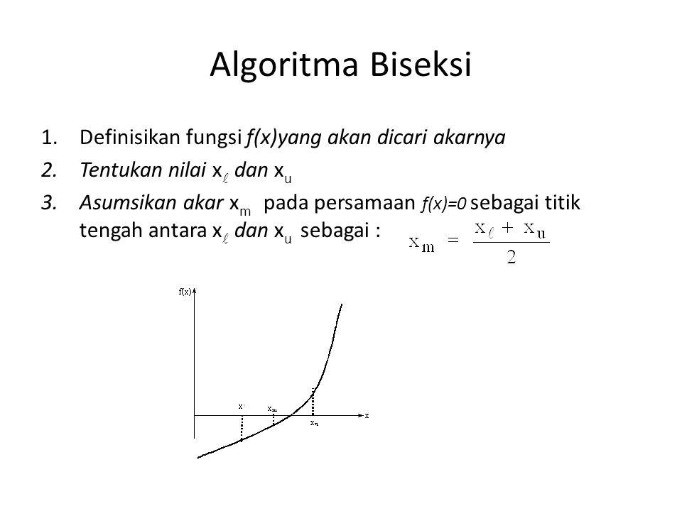 Algoritma Biseksi Definisikan fungsi f(x)yang akan dicari akarnya