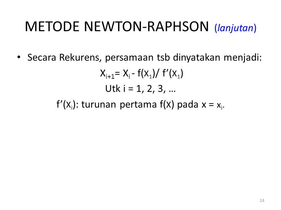 METODE NEWTON-RAPHSON (lanjutan)