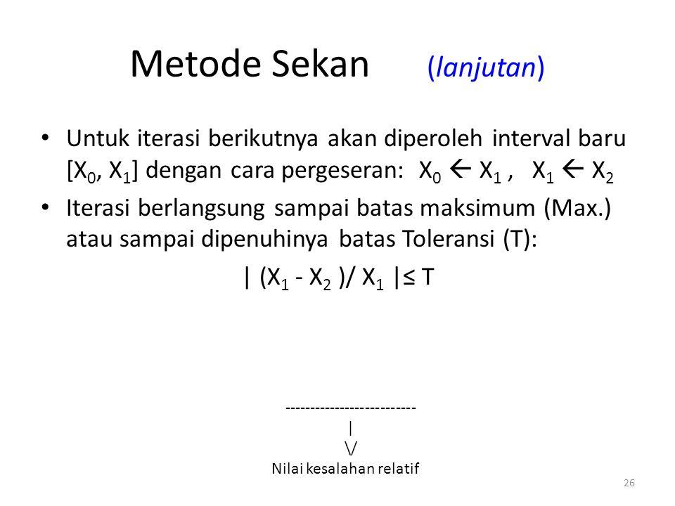 Metode Sekan (lanjutan)