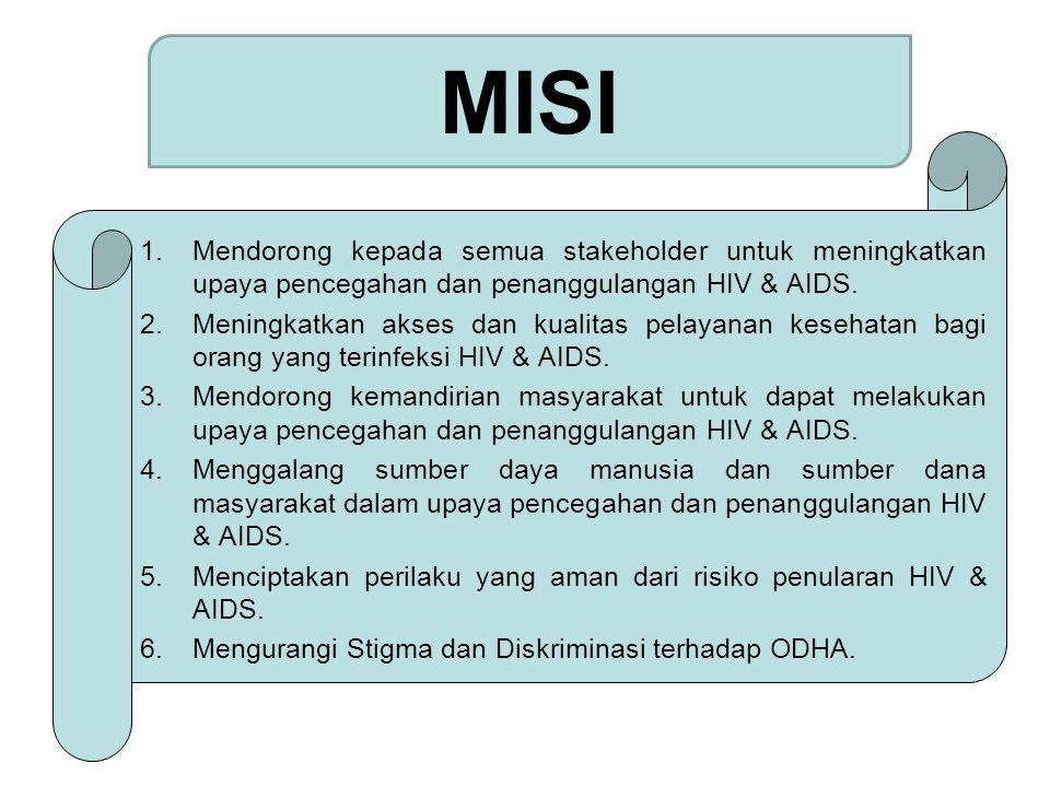 MISI Mendorong kepada semua stakeholder untuk meningkatkan upaya pencegahan dan penanggulangan HIV & AIDS.