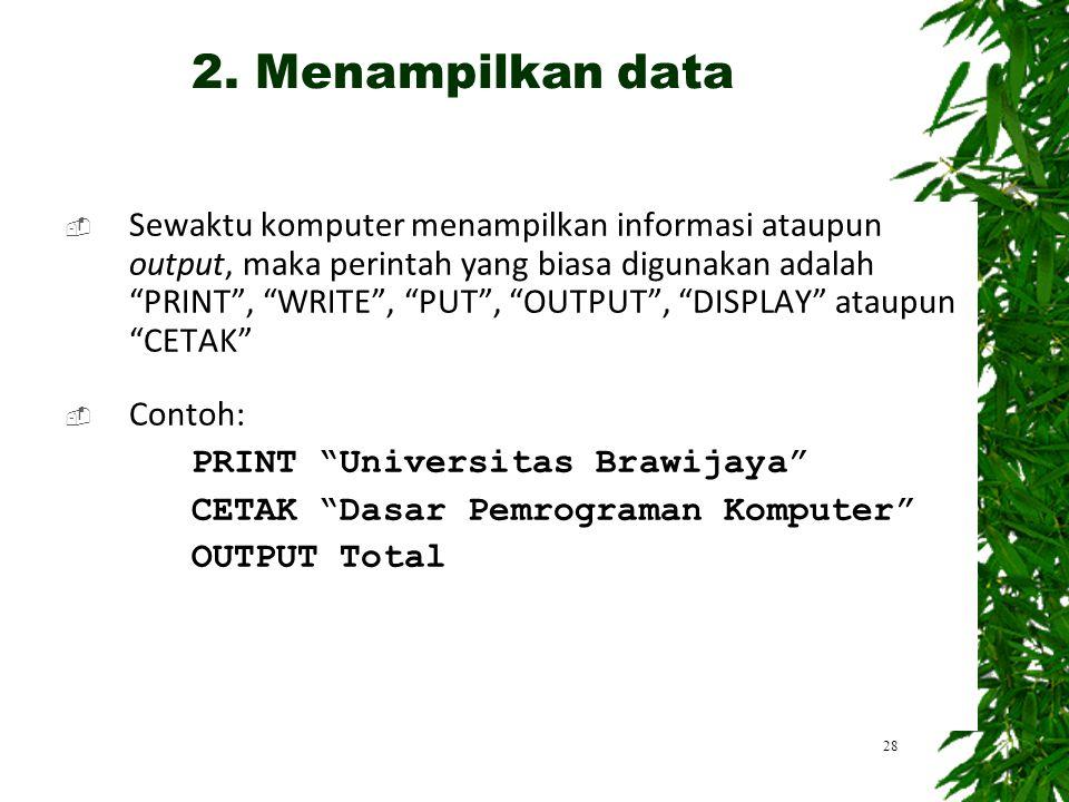 2. Menampilkan data
