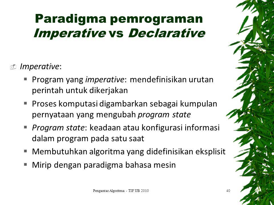Paradigma pemrograman Imperative vs Declarative