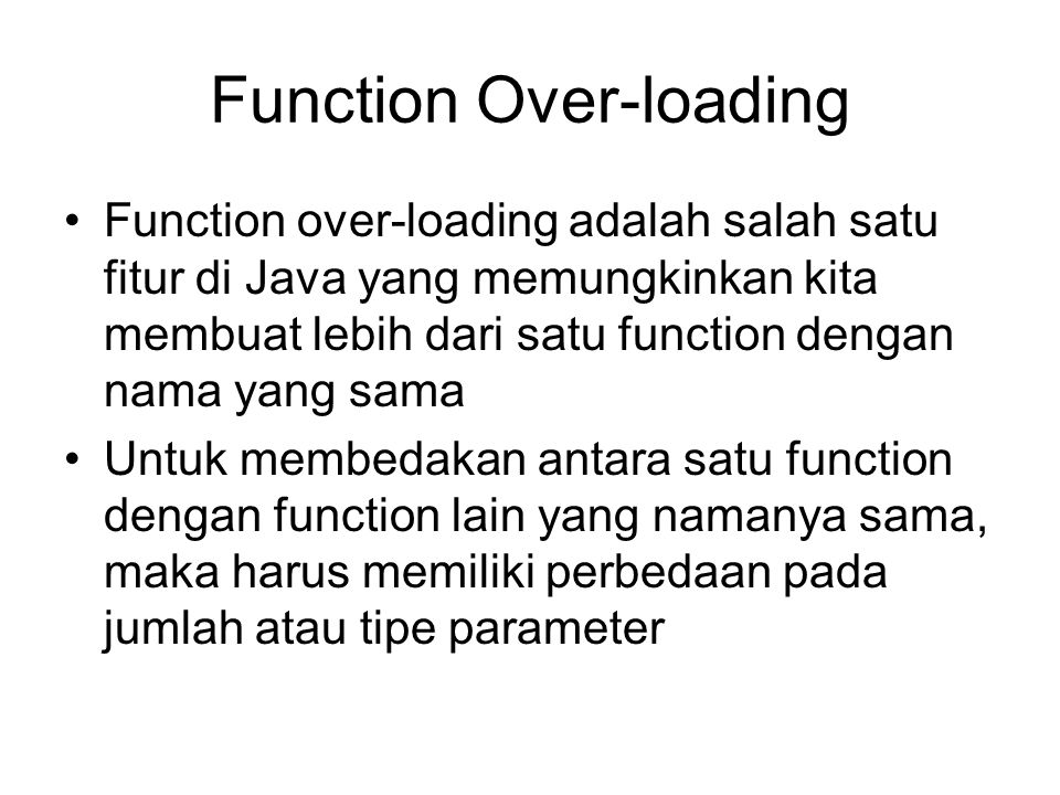 Function Over-loading