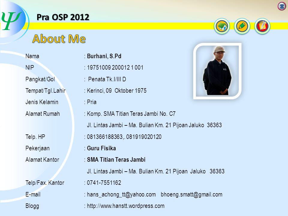  About Me Pra OSP 2012 Nama NIP Pangkat/Gol Tempat/Tgl.Lahir