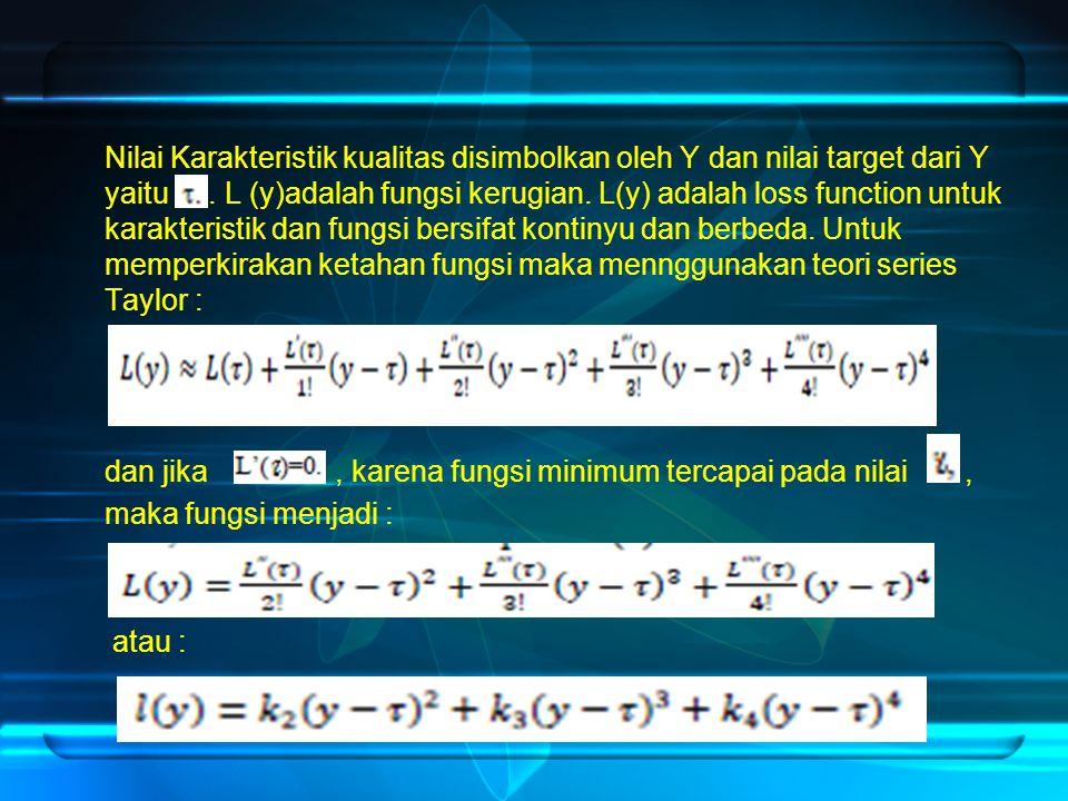 Nilai Karakteristik kualitas disimbolkan oleh Y dan nilai target dari Y yaitu .