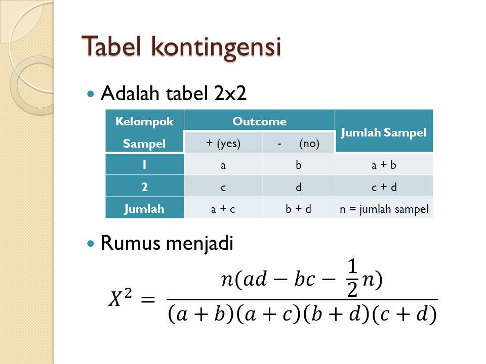 Tabel kontingensi Adalah tabel 2x2 Rumus menjadi