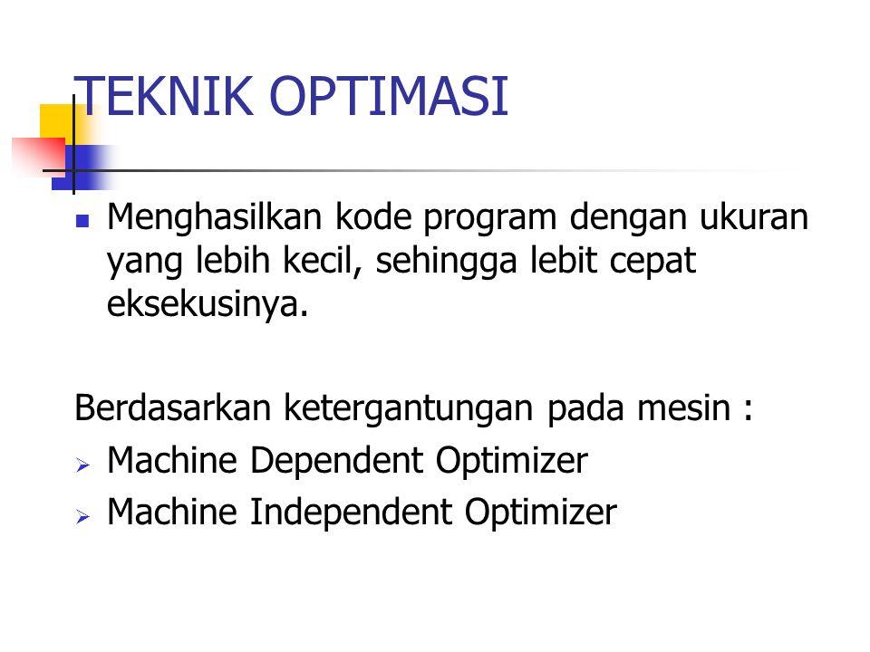 TEKNIK OPTIMASI Menghasilkan kode program dengan ukuran yang lebih kecil, sehingga lebit cepat eksekusinya.