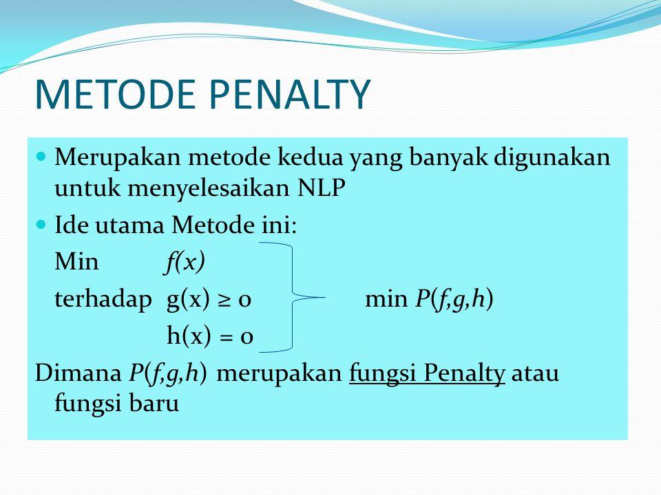 METODE PENALTY Merupakan metode kedua yang banyak digunakan untuk menyelesaikan NLP. Ide utama Metode ini: