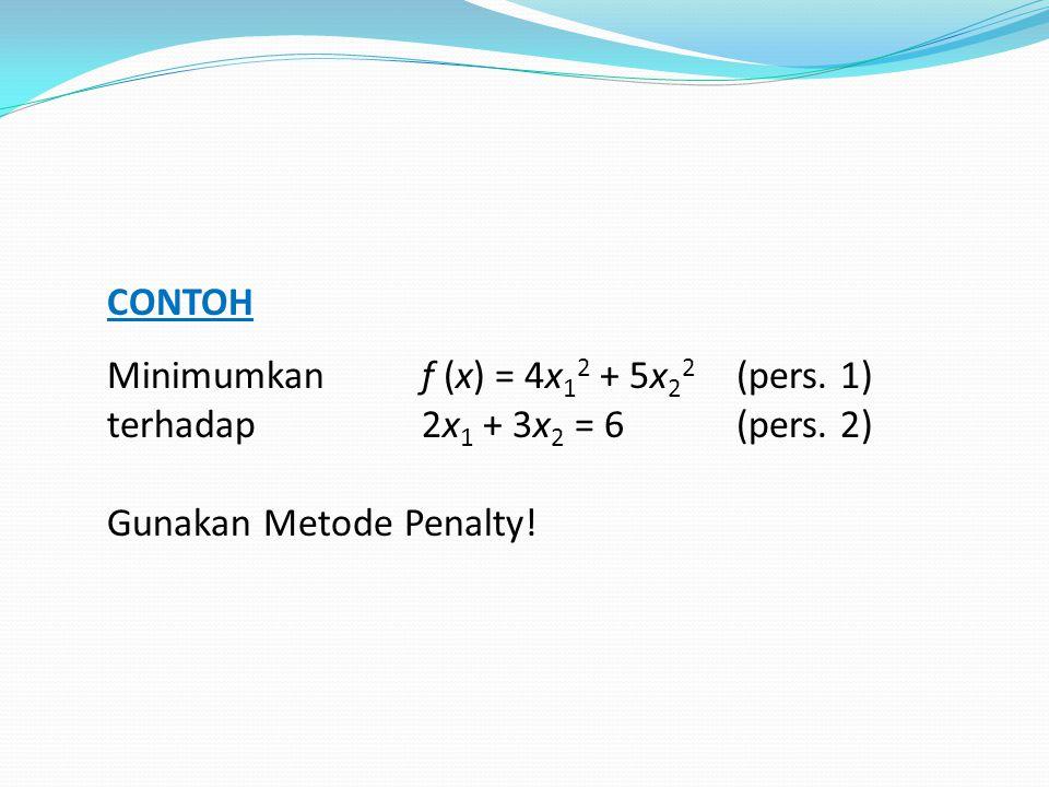 CONTOH Minimumkan f (x) = 4x12 + 5x22 (pers. 1) terhadap 2x1 + 3x2 = 6 (pers.