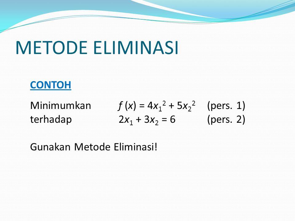 METODE ELIMINASI CONTOH Minimumkan f (x) = 4x12 + 5x22 (pers. 1)