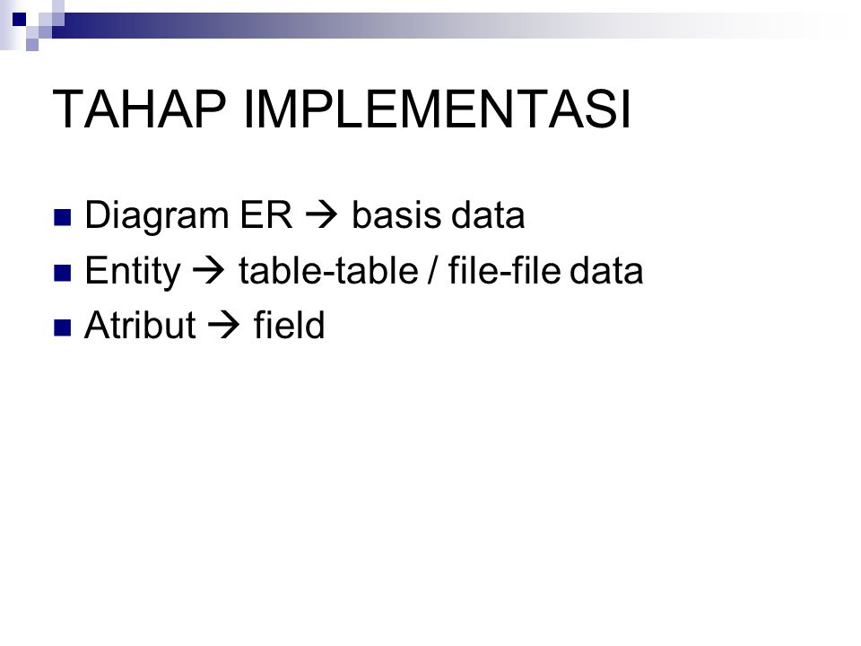 TAHAP IMPLEMENTASI Diagram ER  basis data