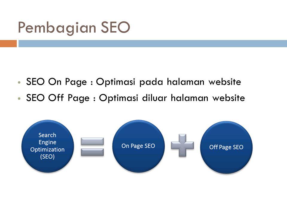 Pembagian SEO SEO On Page : Optimasi pada halaman website