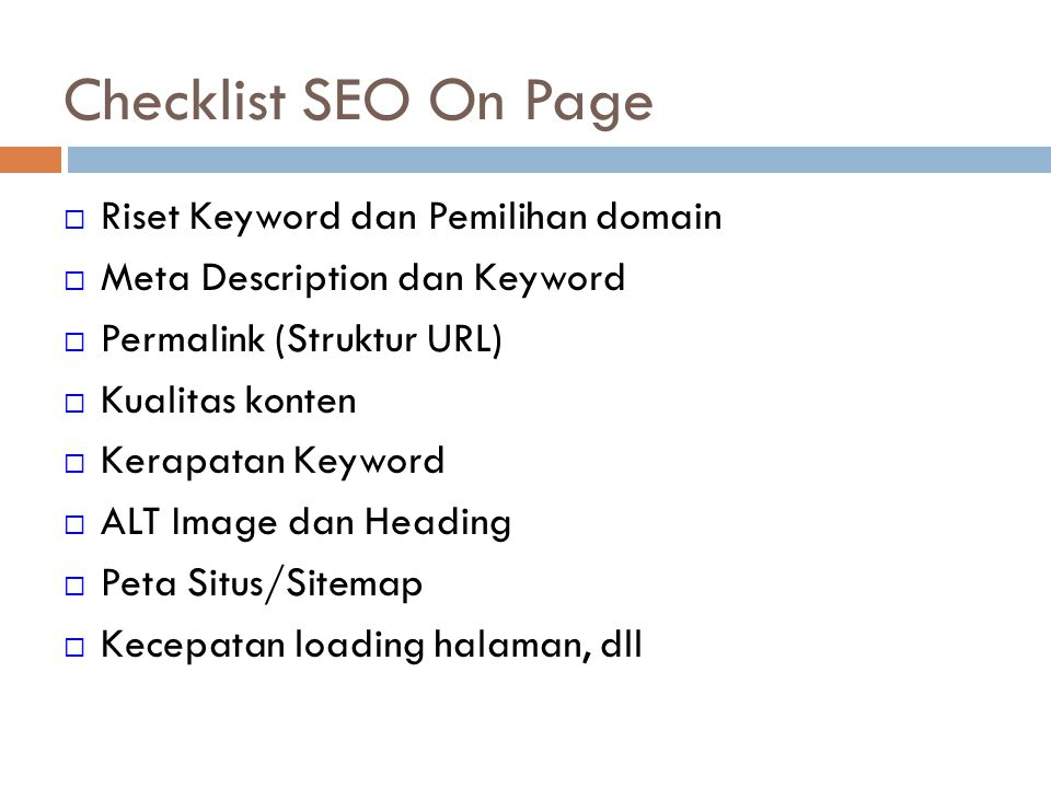 Checklist SEO On Page Riset Keyword dan Pemilihan domain