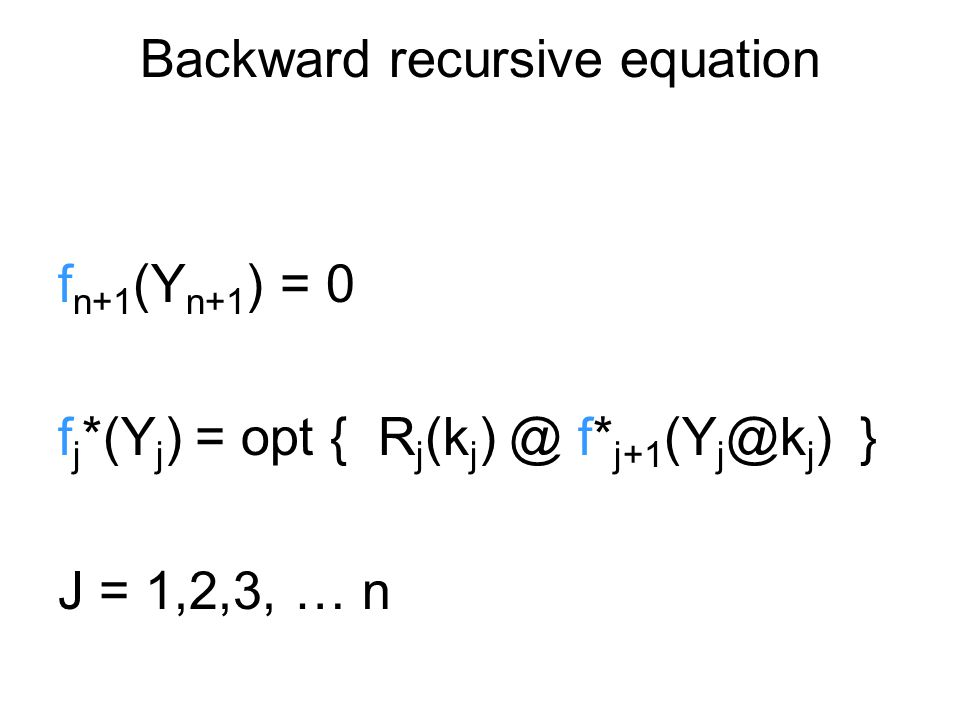 Backward recursive equation