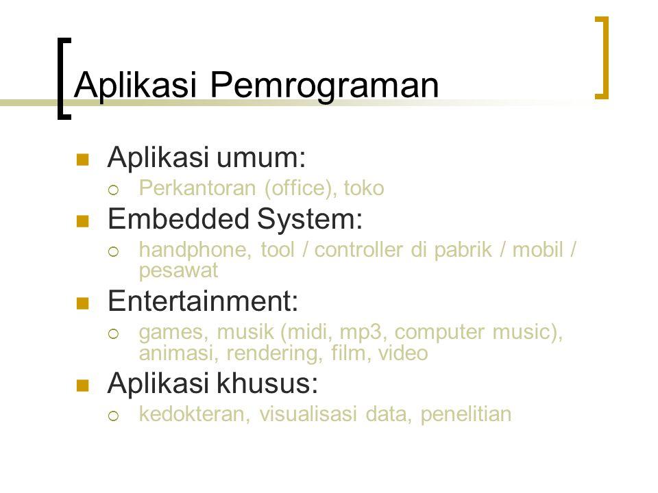 Aplikasi Pemrograman Aplikasi umum: Embedded System: Entertainment: