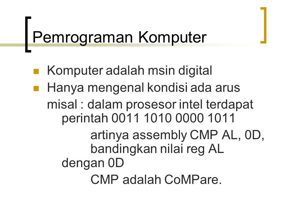 Pemrograman Komputer Komputer adalah msin digital