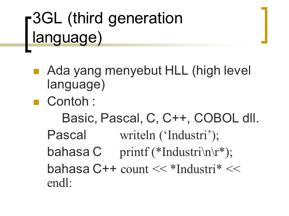3GL (third generation language)