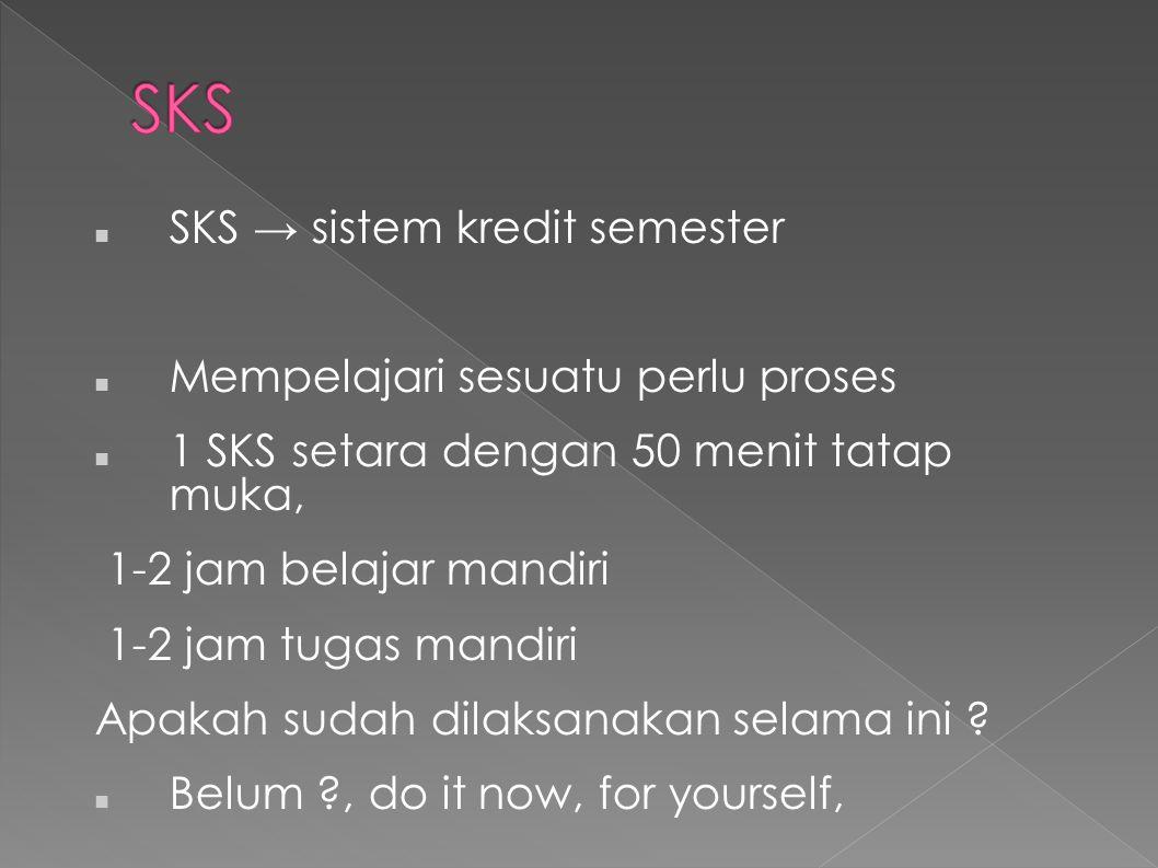 SKS SKS → sistem kredit semester Mempelajari sesuatu perlu proses