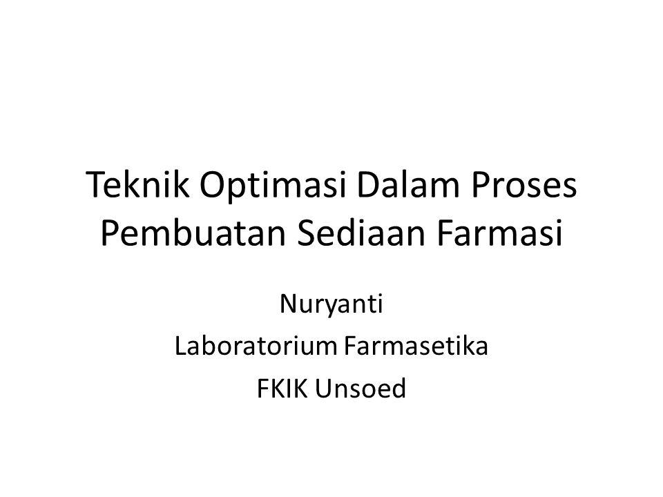 Teknik Optimasi Dalam Proses Pembuatan Sediaan Farmasi