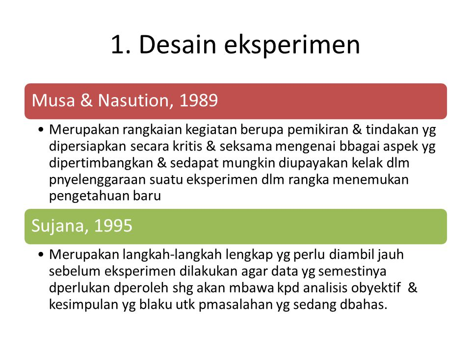 1. Desain eksperimen Musa & Nasution, 1989