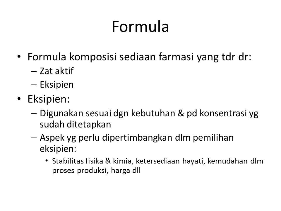 Formula Formula komposisi sediaan farmasi yang tdr dr: Eksipien: