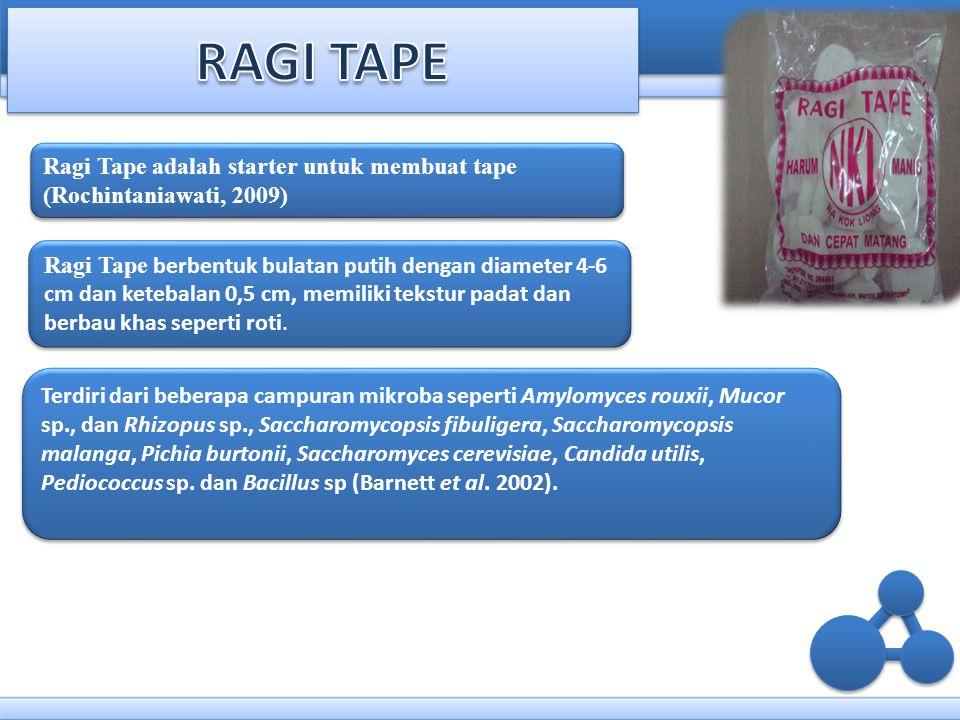 RAGI TAPE Ragi Tape adalah starter untuk membuat tape (Rochintaniawati, 2009)