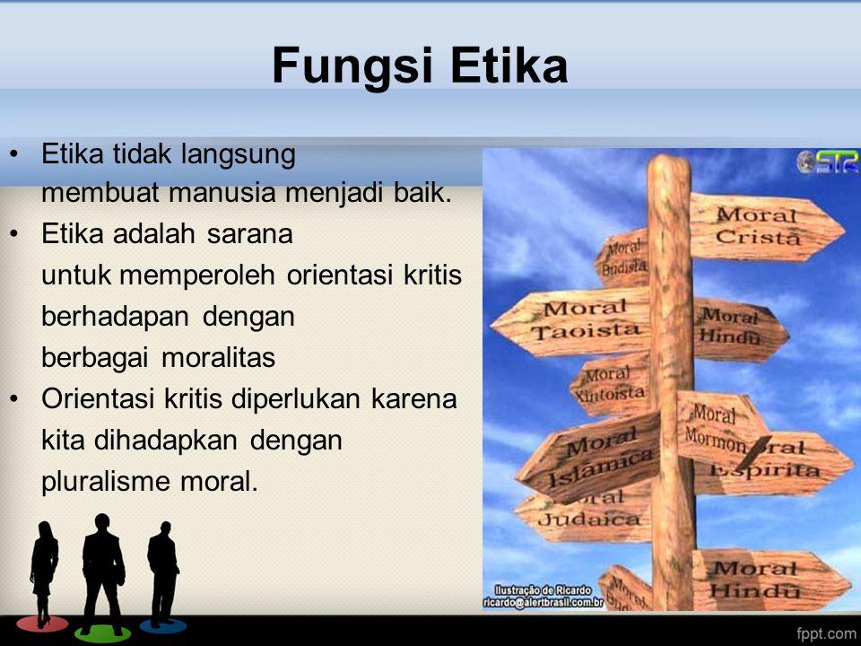 Fungsi Etika Etika tidak langsung membuat manusia menjadi baik.